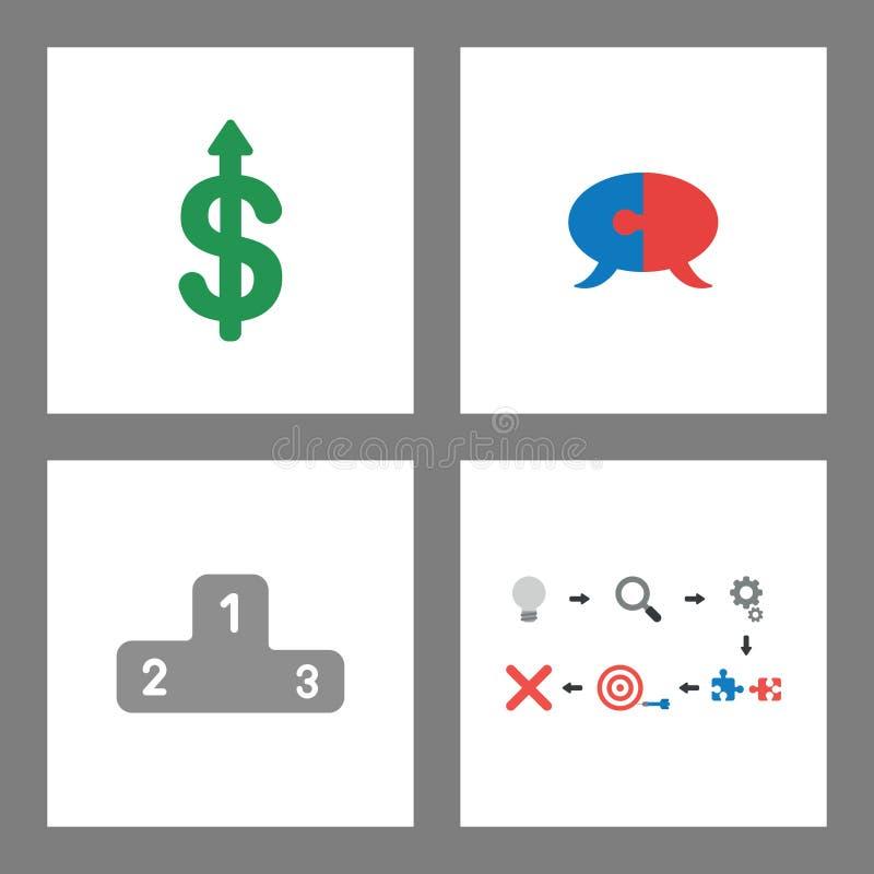 Ikonenkonzeptsatz Dollar oben, Puzzlespielspracheblase, Siegerpodium und Misserfolg stock abbildung