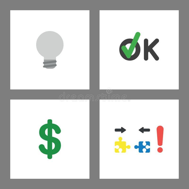 Ikonenkonzeptsatz Graue Glühlampe, o.k. mit Häkchen, Dollarsymbol und unvereinbaren Puzzlespielstücken stock abbildung