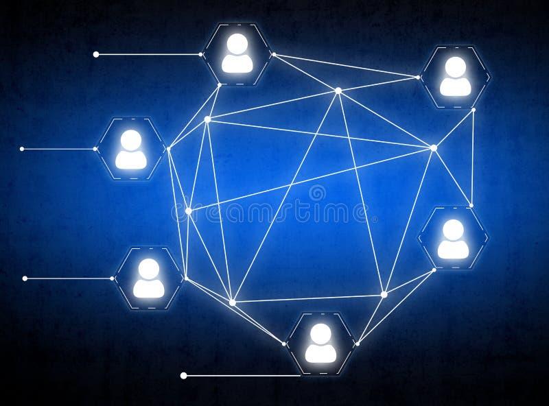 Ikonenleute vereinigten durch ein Netz von Linien lizenzfreies stockfoto