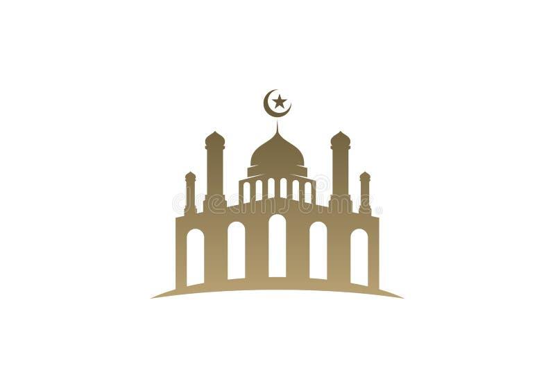 Ikonenlogo-Entwurfsvektor der Moschee einfacher Ikonenvektor Illustrations-Entwurfsschablone der Moschee moslemische lizenzfreie abbildung