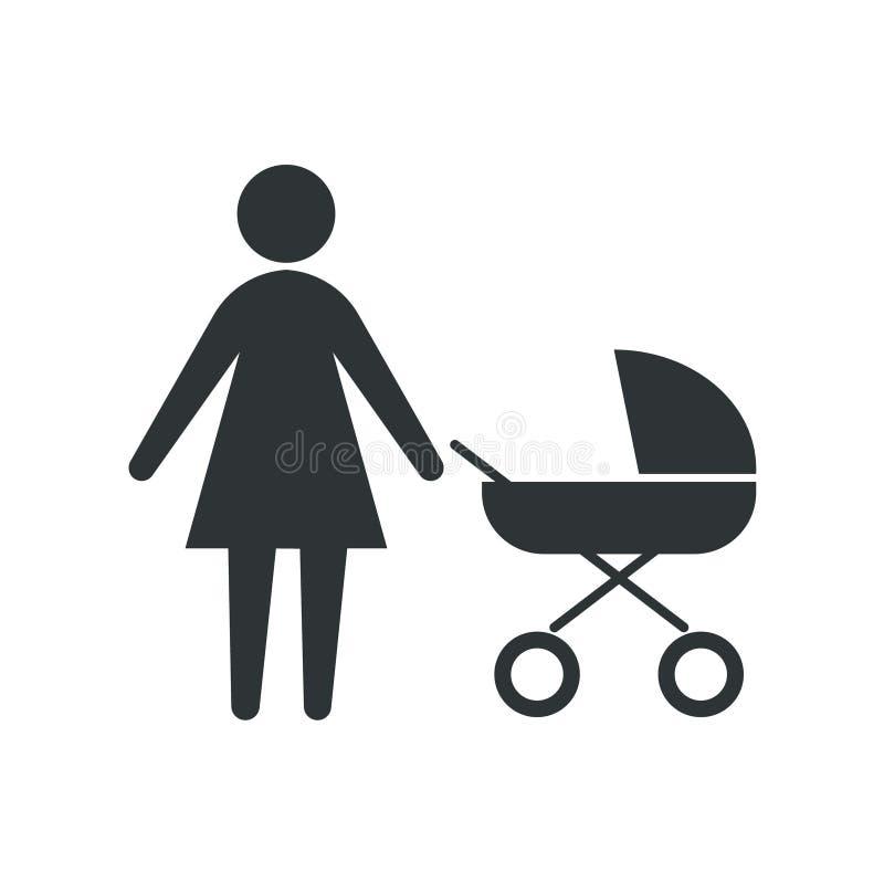 Ikonenmutter mit einem Spaziergänger Vektorillustration auf einem weißen Hintergrund stock abbildung