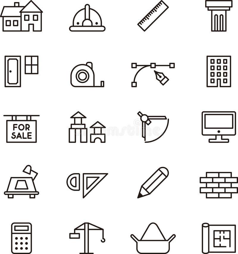 Ikonensammlung für Architektur und Bau stock abbildung