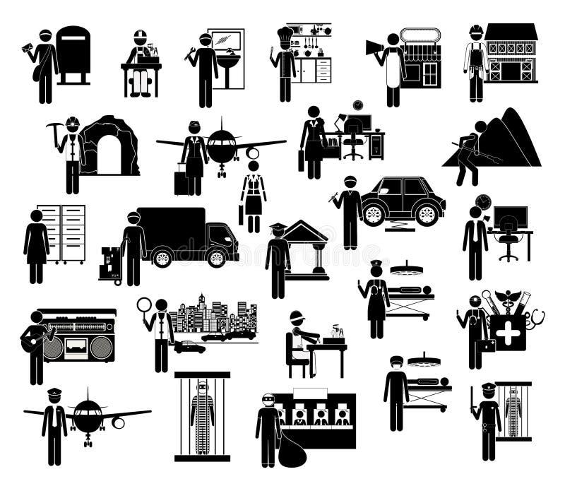 Ikonensatz Arbeiter stock abbildung