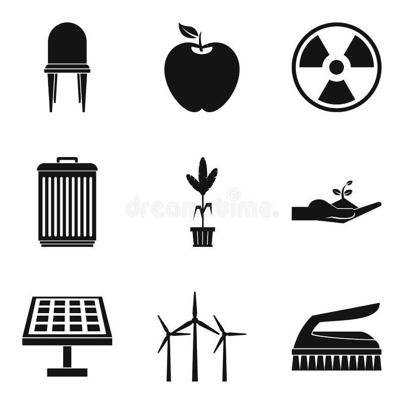 Ikonensatz der alternativen Energie, einfache Art stock abbildung