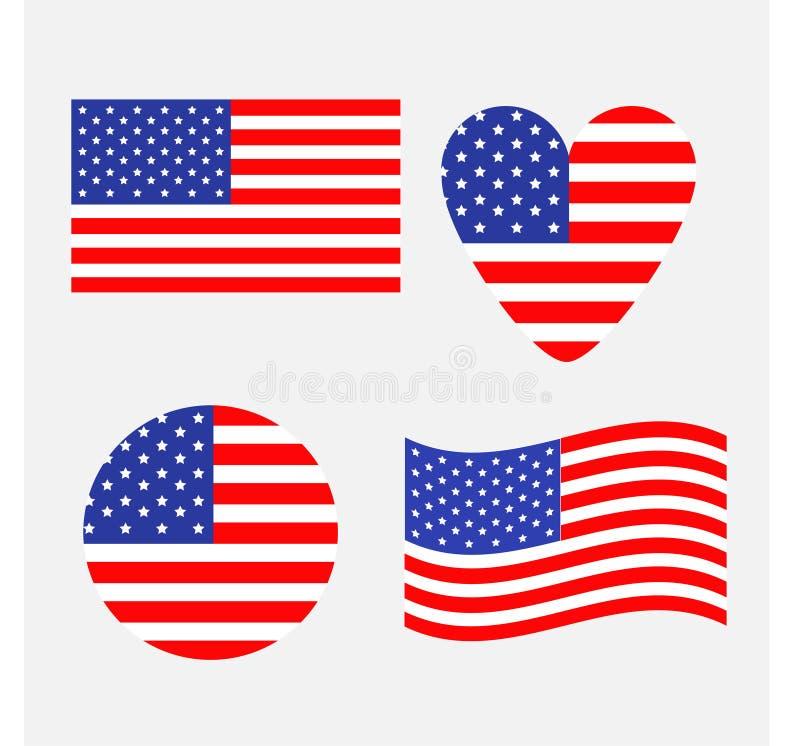 Ikonensatz der amerikanischen Flagge Wellenartig bewegen, Runde, Herzform Glückliches Unabhängigkeitstagzeichensymbol Getrennt Wh vektor abbildung