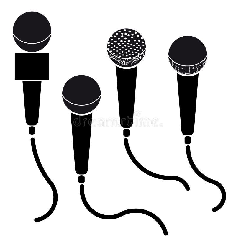 schwarzes schattenbild des mikrofons mit anmerkungen