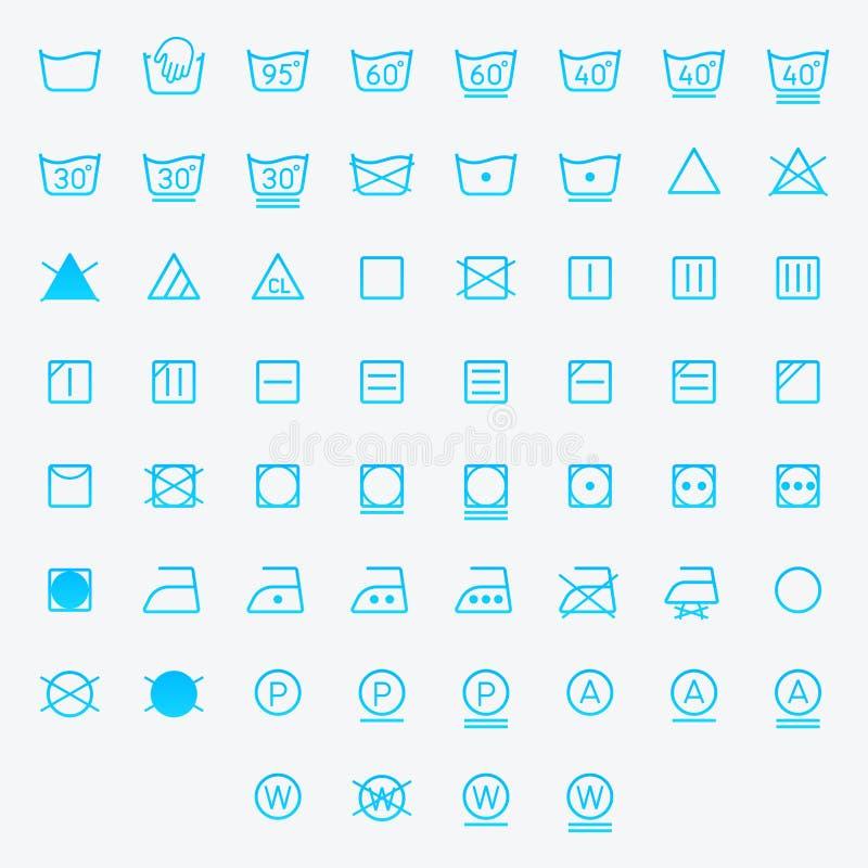 Ikonensatz der Wäscherei, waschende Symbole lokalisiert auf weißem Hintergrund lizenzfreie abbildung