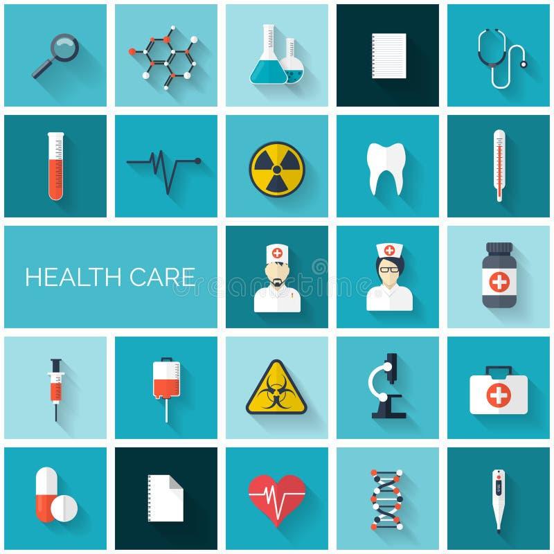 Ikonensatz des flachen Gesundheitswesens und der medizinischen Forschung Gesundheitssystemkonzept Medizin und Industriechemie Ers lizenzfreie abbildung