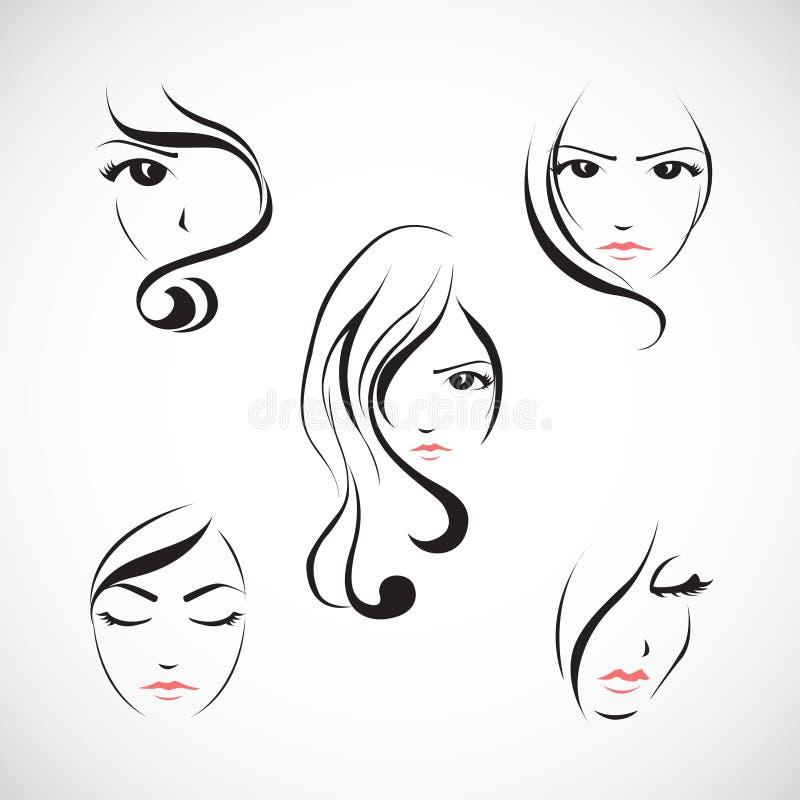 Ikonensatz des Gesichtes der Schönheit vektor abbildung