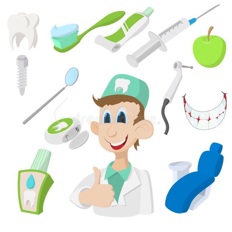 Ikonensatz des lächelnden jungen Zahnarztes und der zahnmedizinischen Ausrüstung lizenzfreie stockfotos