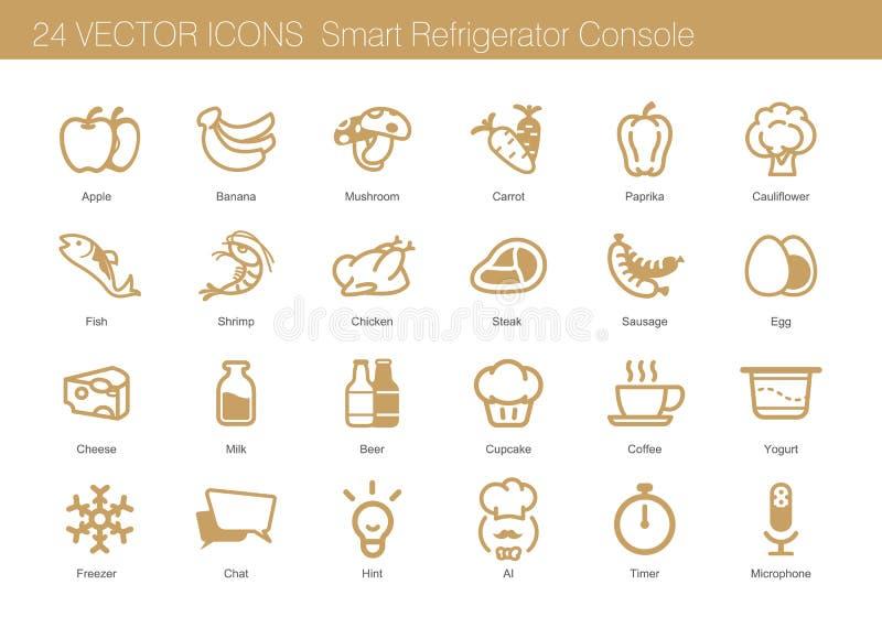 Ikonensatz des Lebensmittels, des Getränks und des intelligenten Kühlschranks vektor abbildung