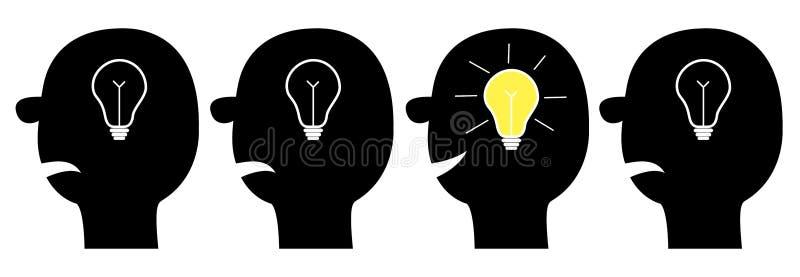 Ikonensatz des menschlichen Gesichtes Schwarzes Schattenbild Glühlampe der Idee im Kopf innerhalb des Gehirns Glänzender Effekt D lizenzfreie abbildung