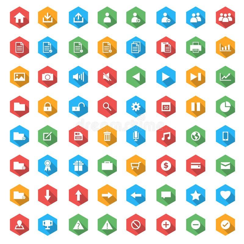 Ikonensatz für Netz im flachen Design mit langen Schatten lizenzfreie abbildung