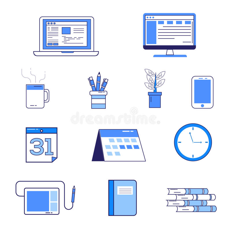Ikonensatz für Schreibtisch lizenzfreies stockbild