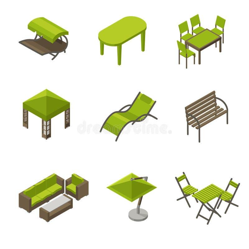 Ikonensatz Gartenmöbel in der isometrischen Art lizenzfreie abbildung