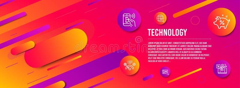 Ikonensatz kein Internet, Internet- und Darlehensprozente Websitesuche, Bitcoin-Lohn und Reisedarlehenszeichen Vektor lizenzfreie abbildung