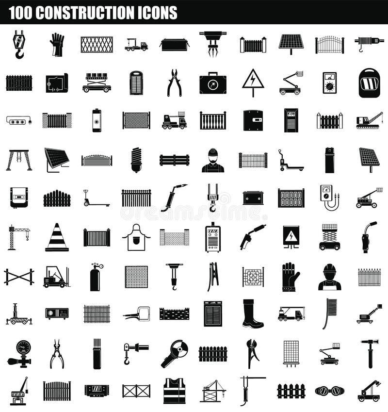 Ikonensatz mit 100 Bau, einfache Art stock abbildung