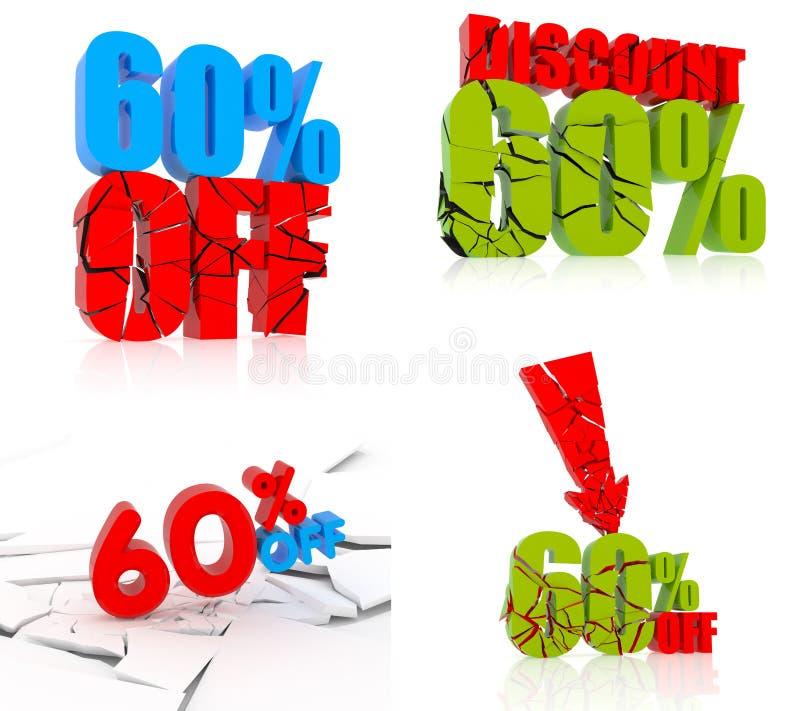 Ikonensatz mit 60 Rabatten vektor abbildung