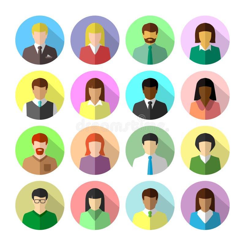 Ikonensatz verschiedene Geschäftsleute im flachen Design lizenzfreie abbildung