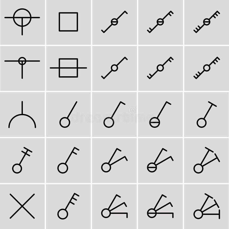 Ikonenschalter, Elektrische Symbole Vektor Abbildung - Illustration ...