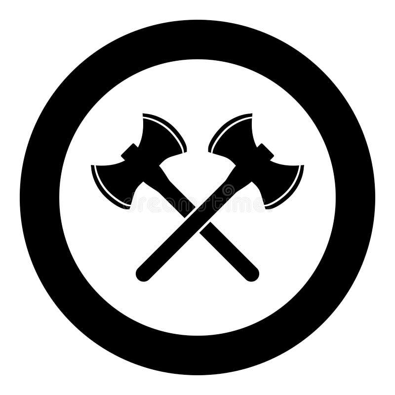 Ikonenschwarz-Farbvektor mit zwei zweiseitiger Wikinger-Äxten Artbild der runden Illustration des Kreises im flachen stock abbildung