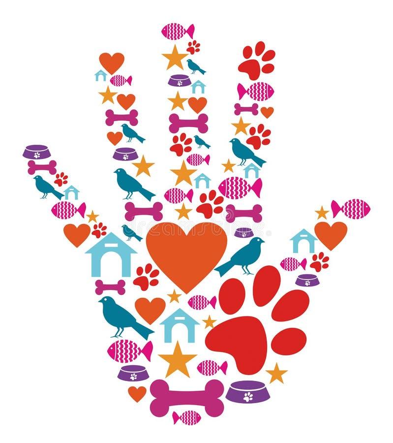 Ikonenset des Haustiertieres schützendes Hand stock abbildung