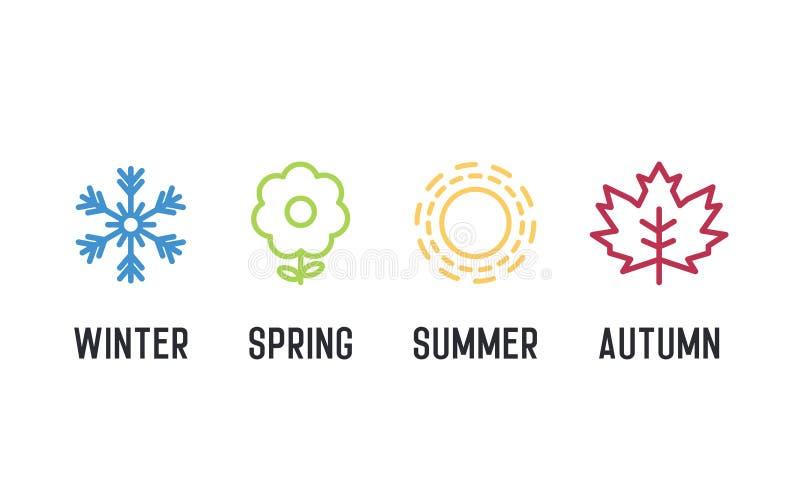 Ikonenset mit vier Jahreszeiten 4 Vektorgraphik-Elementillustrationen, die Winter, Frühling, Sommer, Herbst darstellen stock abbildung