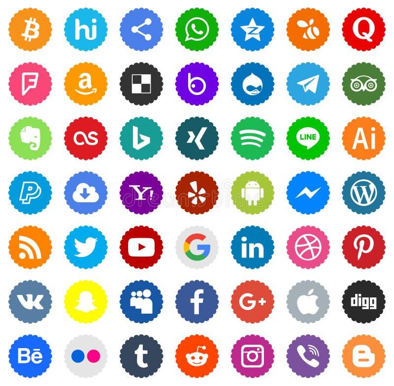 Ikonensocial media Farbvektoren stock abbildung