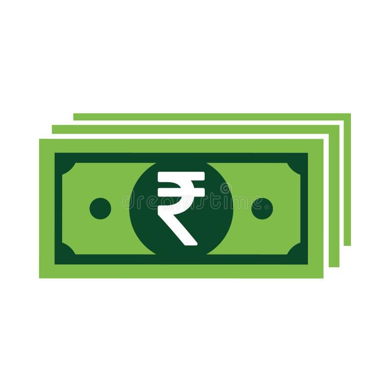 Ikonensymbol der indischen Rupie lokalisiert auf weißem Hintergrund Vektorgeldillustration stock abbildung