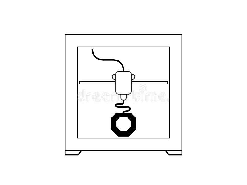 Ikonensymbol des Druckers 3D in Schwarzweiss stock abbildung