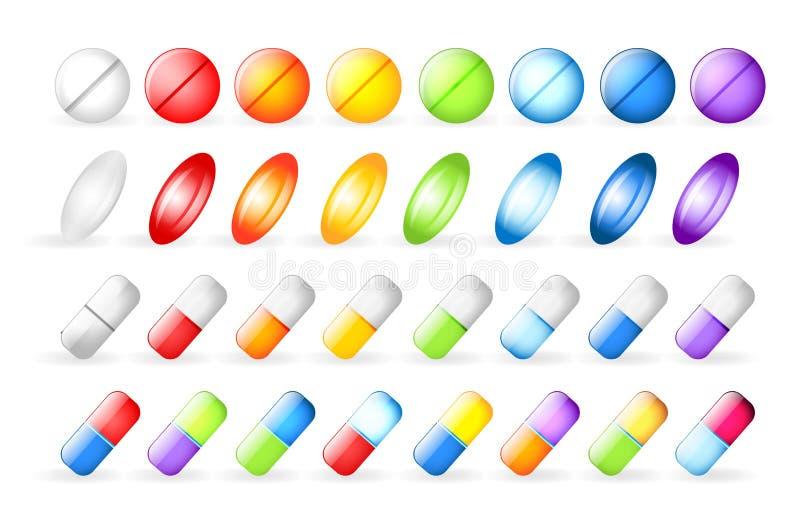 Ikonentabletten und -pillen vektor abbildung