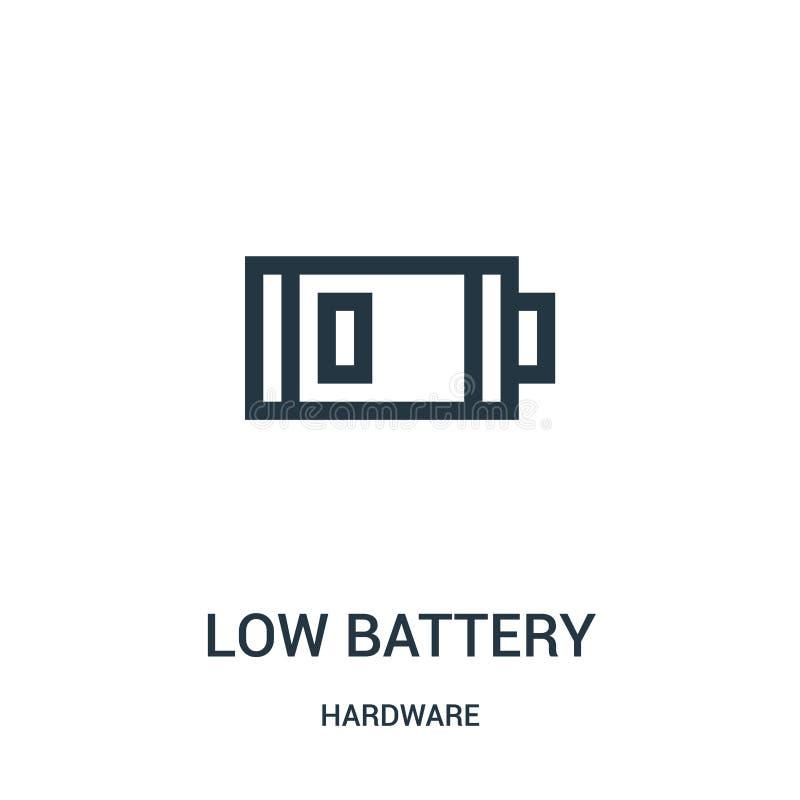 Ikonenvektor der schwachen Batterie von der Hardware-Sammlung Dünne Linie Entwurfsikonen-Vektorillustration der schwachen Batteri stock abbildung