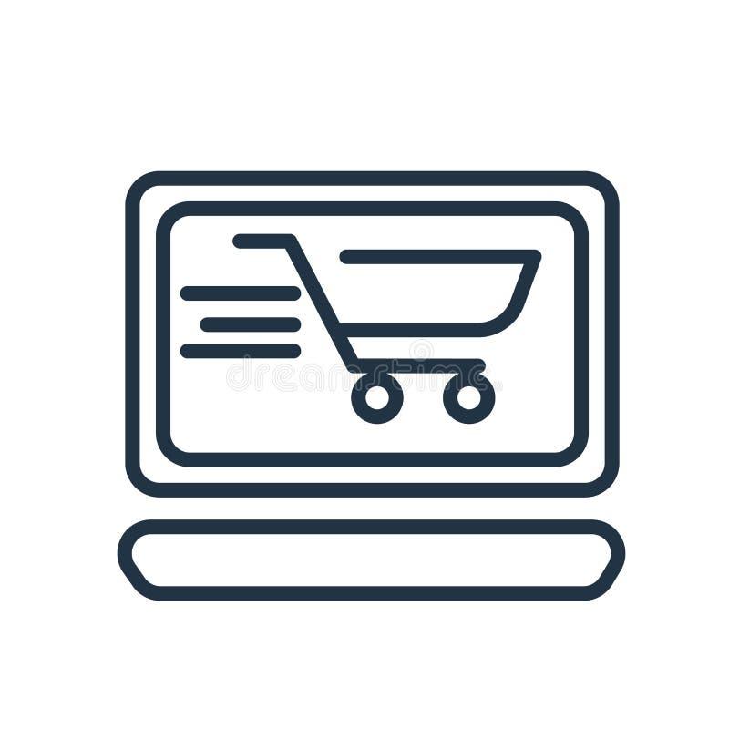 Ikonenvektor des elektronischen Geschäftsverkehrs lokalisiert auf weißem Hintergrund, Zeichen des elektronischen Geschäftsverkehr lizenzfreie abbildung