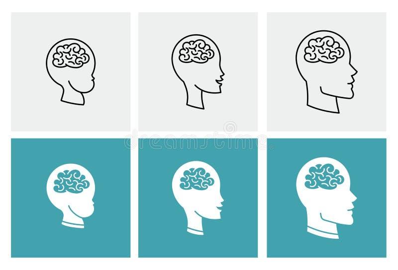 Ikonenvektor-Gehirnköpfe von drei Leuten lizenzfreie abbildung