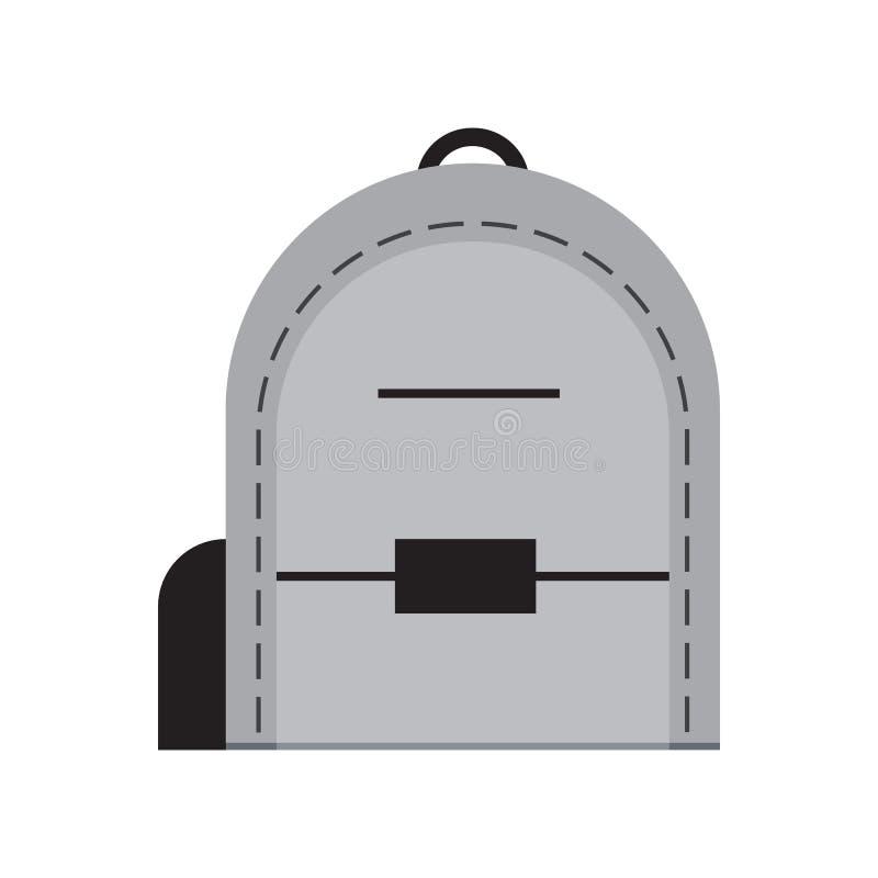 Ikonenvektor-Illustrationsdesign der Schultasche flaches stock abbildung