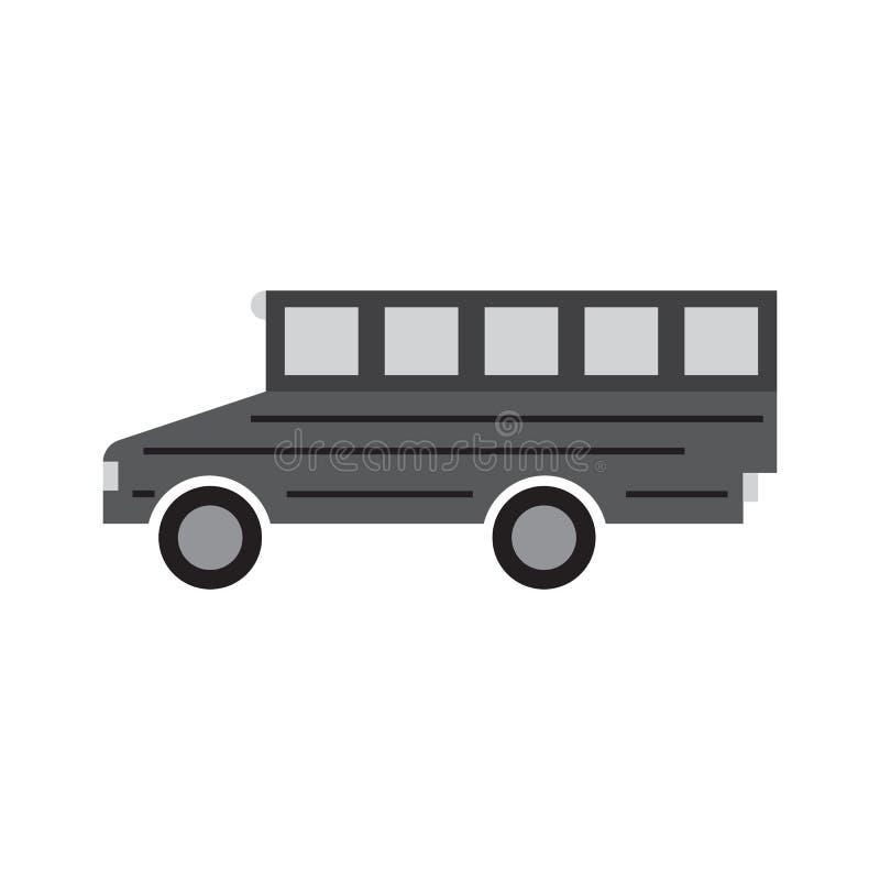 Ikonenvektor-Illustrationsdesign des Schulbusses flaches lizenzfreie abbildung