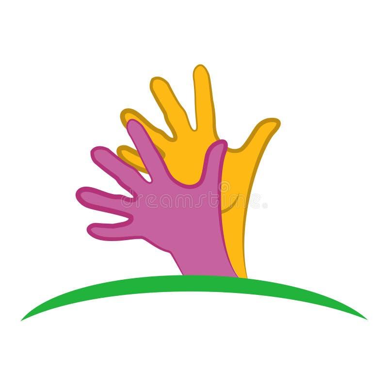 Ikonenvektorbild-Illustrationsgrafikdesign des Logos hoffnungsvolles Hand lizenzfreie abbildung