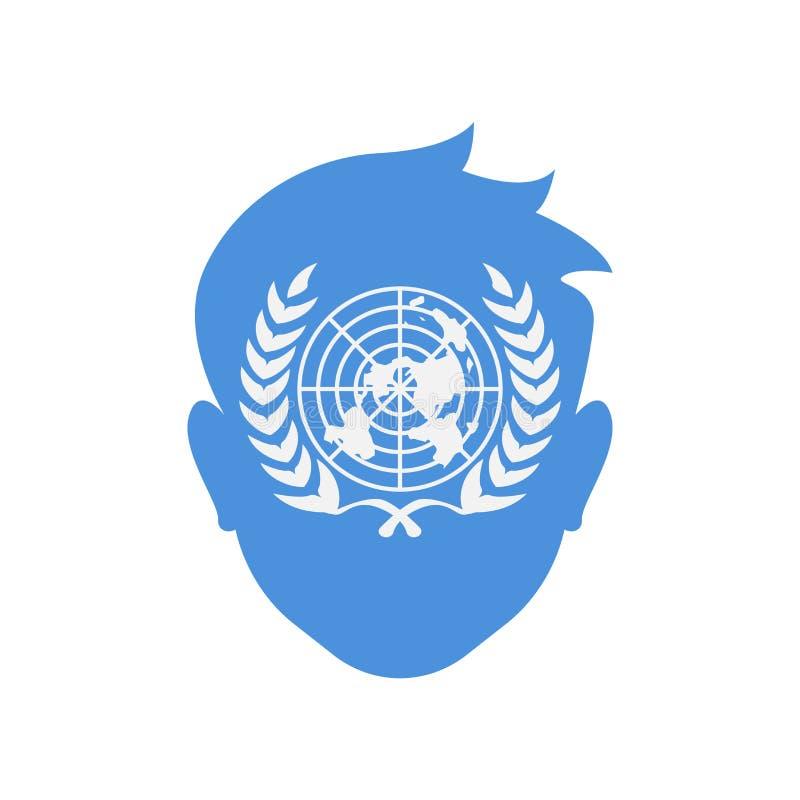 Ikonenvektorzeichen und -symbol der Vereinten Nationen lokalisiert auf weißem BAC lizenzfreie abbildung