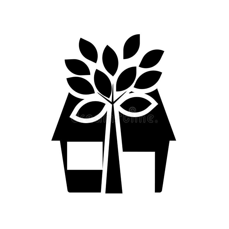 Ikonenvektorzeichen und -symbol des grünen Hauses lokalisiert auf weißem Hintergrund, Logokonzept des grünen Hauses vektor abbildung