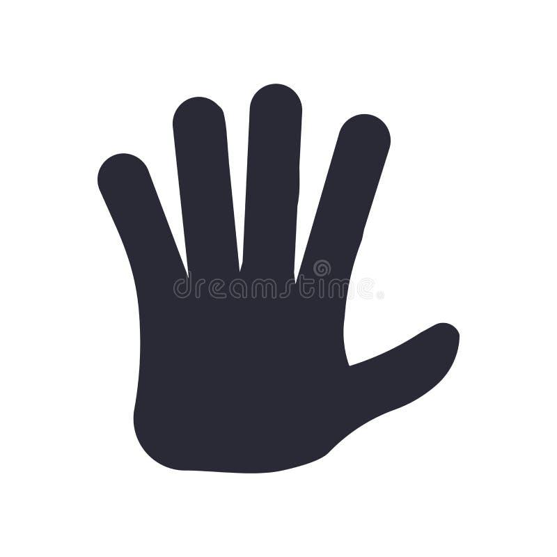 Ikonenvektorzeichen und -symbol mit fünf Fingern lokalisiert auf weißem Hintergrund, Logokonzept mit fünf Fingern lizenzfreie abbildung