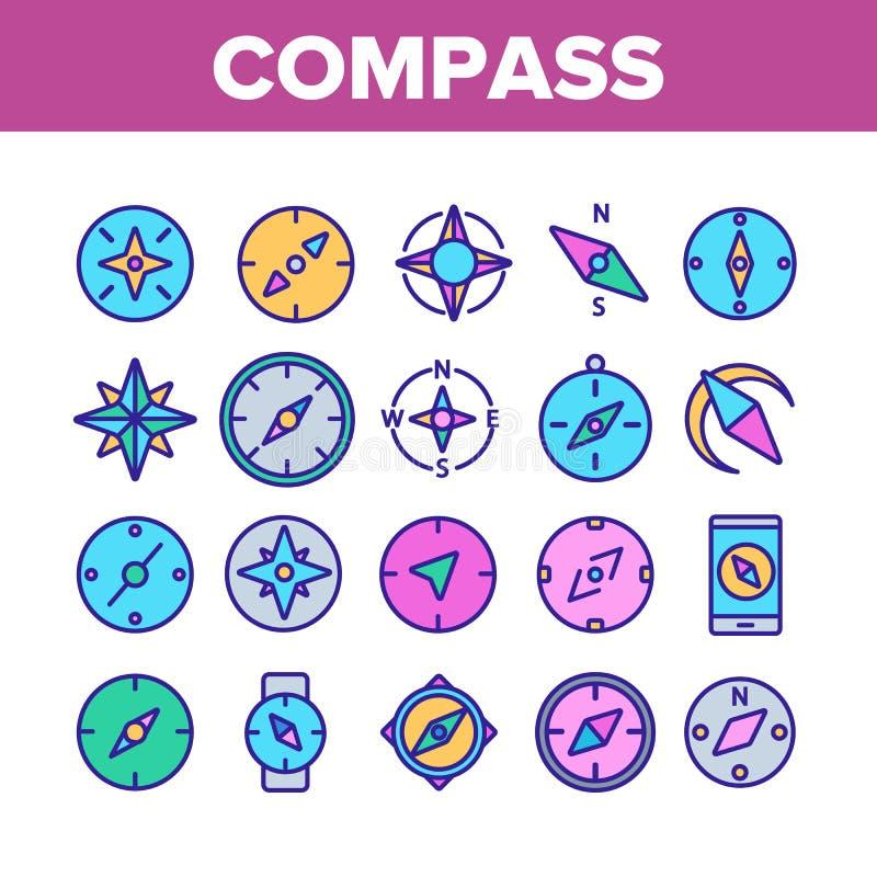 Ikoner för Komprimera navigeringssamling Ställ in vektor stock illustrationer