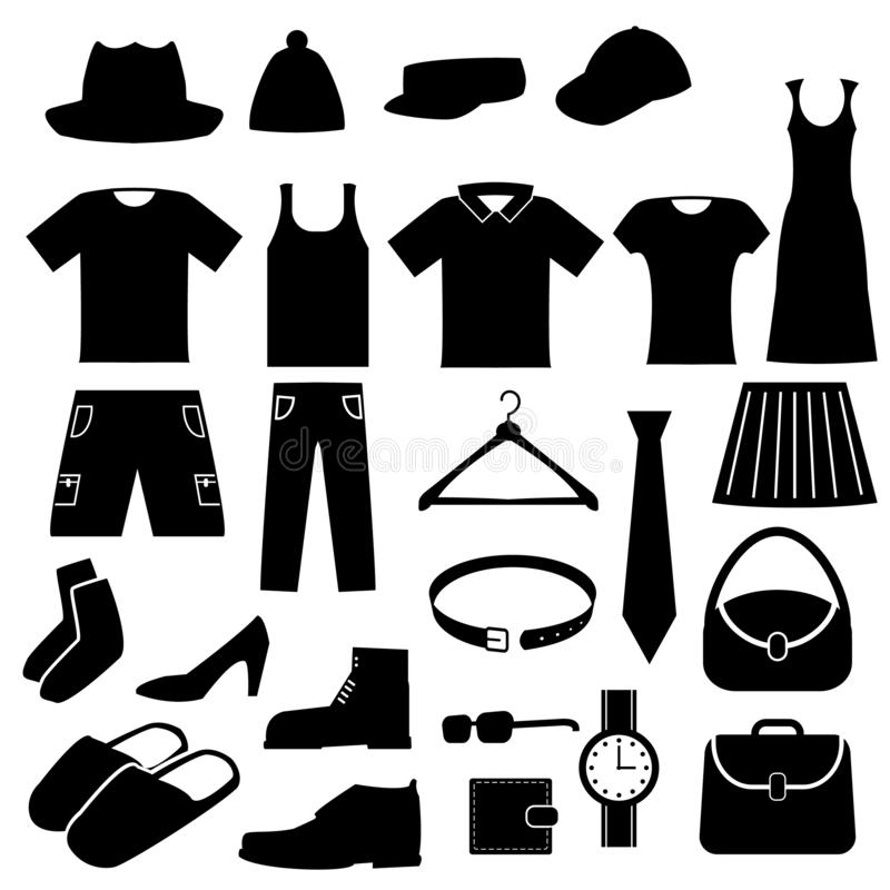 Ikoner för koner för kläder royaltyfri fotografi