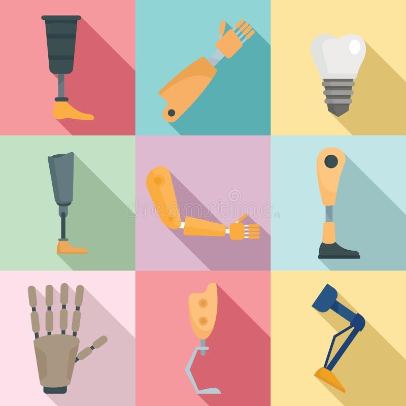 Ikoner för konstgjorda armar och ben, platt stil stock illustrationer