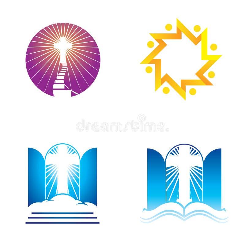 Ikoner för kyrka, religion och tro stock illustrationer