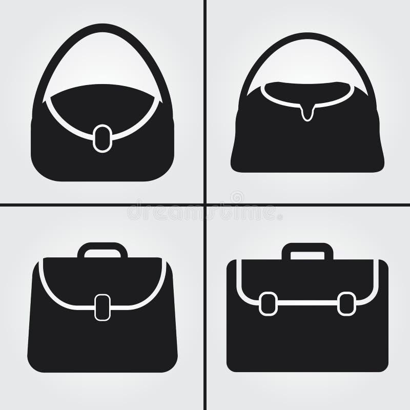 Ikoner för lagerbärväska för lagerväska royaltyfria bilder