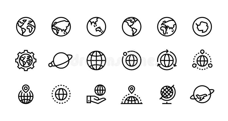 Ikoner för loblinjer Världssfär med longitud och latitud, resa och destination Vector-webbgränssnittskontur royaltyfri illustrationer