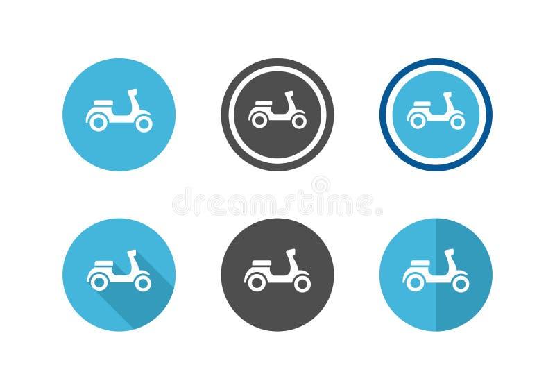 Ikoner för scooter-cirkel Ikoner för motorcykelskylt - Vektor stock illustrationer