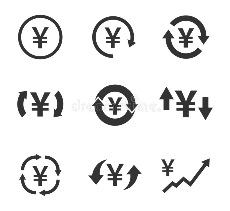 Ikoner för yen, valutakonvertering, finansieringsskyltar stock illustrationer
