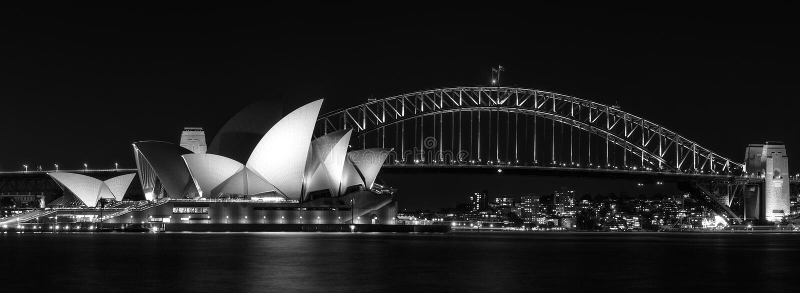 Ikonowy widok Sydney, Australia w czarny i biały obraz stock