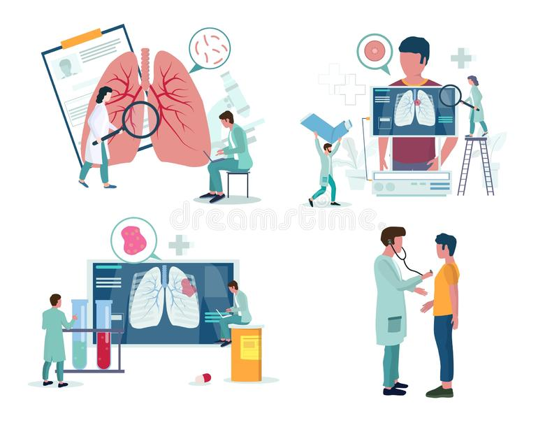 Ikonuppsättning för lungmonologi eller respiratorisk medicin, vektorillustration royaltyfri illustrationer